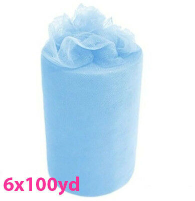 6inch x 100yd Quality Tulle Roll - Blue