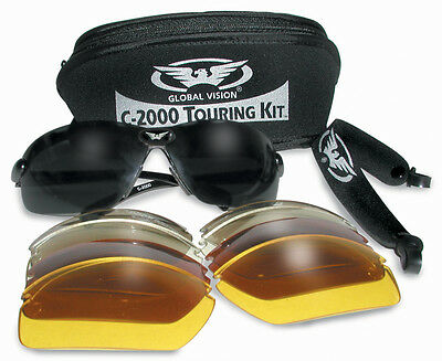 Motorcycle Sunglasses Touring Kit With 5 Interchangeable Lenses, pouch & postage