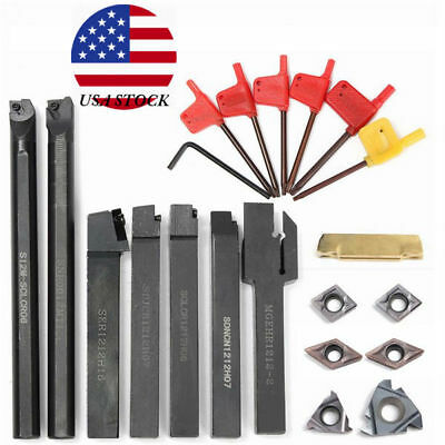 7pcs 12mm Shank Lathe Turning Tool Holder Boring Bar w/ Carbide Inserts + Wrench
