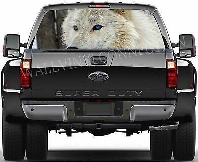 Wolf Howling Moon Galaxy Dodge County Truck Pickup Perforated Window Decal Ford