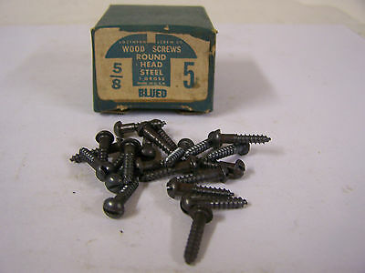 """#5 x 5/8"""" Blued Wood Screws Round Head Slotted Vintage Made in USA Qty 144"""
