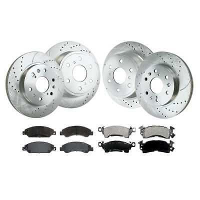 New Performance Drilled Slotted Silver Brake Rotors Ceramic Pads Front/Rear