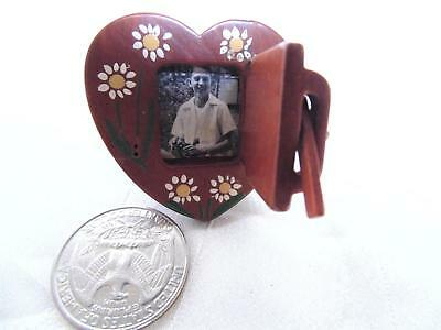 Antique Miniature Carved Wood Heart Picture Frame Hand Painted Floral Folk Art