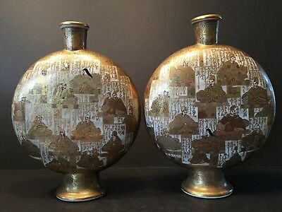 Antique Japanese Large Pair Satsuma Moon Flasks Vases, Meiji period. Signed