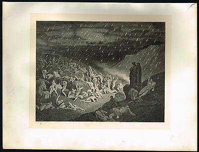 1860's ANTIQUE Old Vintage Hell Rain of Fire Gustave Dore Art Engraving PRINT