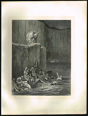 1860s Big ANTIQUE Old Vintage Hell Bodies Gustave Dore Art Engraving PRINT 2