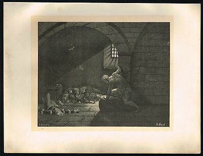 1860's Large Old ANTIQUE Vintage Ugolino Prison Gustave Dore Art Engraving PRINT