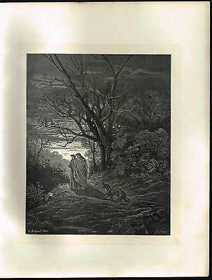 1860s Old ANTIQUE Vintage She-Wolf in Forest Gustave Dore Art Engraving PRINT
