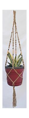 Plant Hanger Macrame Jute 4 Leg 48 inch with Wooden Beads Heavy Duty for Ceil...