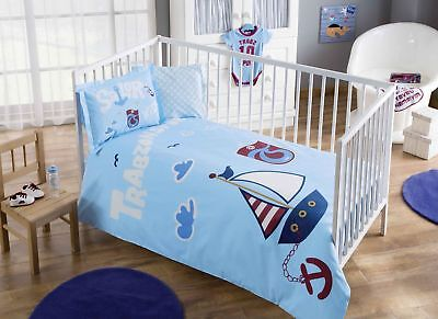 100% Organic Cotton Sailor Soft and Healthy Baby Crib Bed Duvet Cover Set 4 Pcs