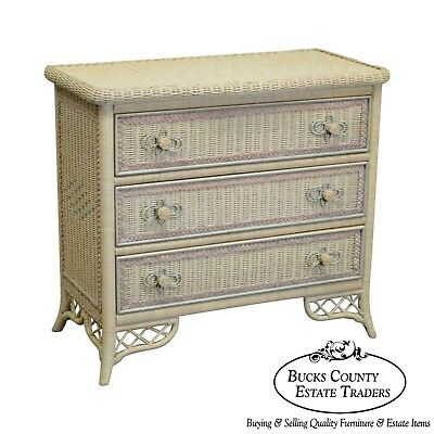 Lexington Henry Link Victorian Style Painted Wicker Chest of Drawers Dresser