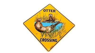 Otter crosing sign aluminum picture otters decor animals novelty signs home