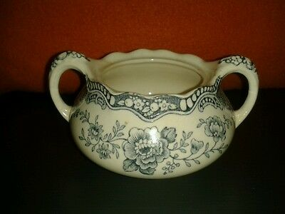 Rare Vintage English Ironstone Crown Ducal Bristol Sugar Bowl Blue & White