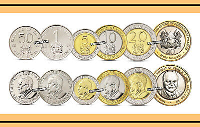 KENYA UNC SET of 6 COINS 50 CENTS 1 5 10 20 40 SHILLINGS COM. BIMETAL 2003-2010