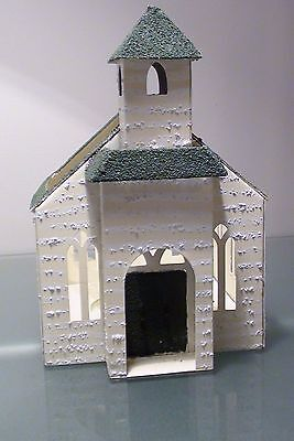 Decorative Metal White Country Church Votive Tea Candle Holder Cross On Steeple