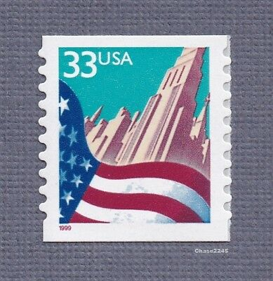 Scott #3280 Flag over City 33c (Coil Single) 1999 Red Date (Perf. 9.9) Mint NH