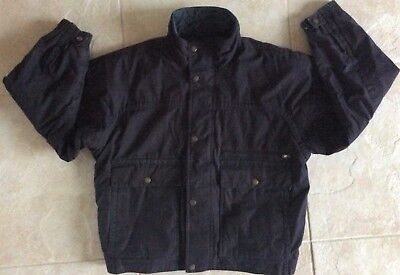 Mens Field & Stream Heavy Black Brushed Canvas Cargo Coat Flannel Lined Large