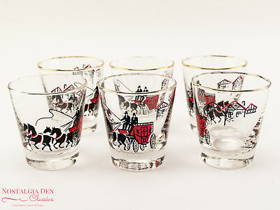 Libbey Stagecoach Carriage Glasses| MCM Old Fashioned 6 oz. Glasses | Set Of 6