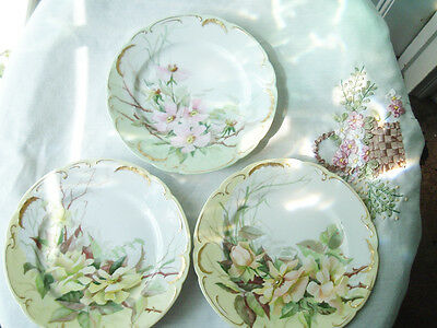 """Lot Of 3~Jhr Cma Hand Painted Decorative Flower Gold Trim Plates Dishes~7-1/2"""""""