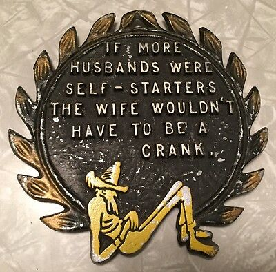 Vintage Trivet If more husbands were self starters the wife wouldn't be a crank
