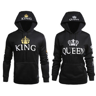 Lover Couple Matching King Queen Hoodie Jumper Sweater Tops Sweatshirts Pullover
