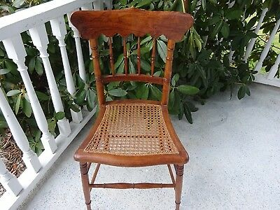 Antique Victorian Ornate Wood Wooden  Small Ladies Chair Caned Seat