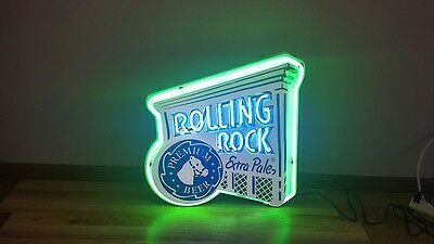 (Vtg) Rolling Rock Beer Horse Neon Light Up Sign Game Room Man Cave Rare Style