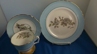 Crown Staffordshire Bone China tea cup, saucer, & plate set in Gray Blossoms