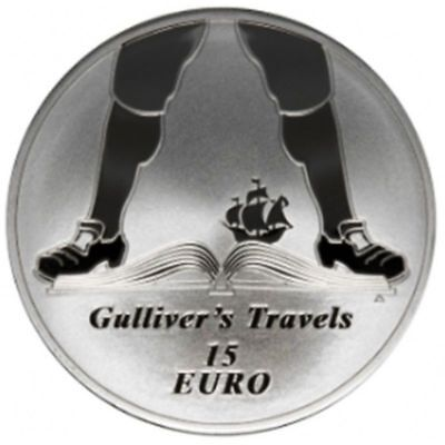 2017 Ireland 15 Euro Silver Proof Coin Jonathan Swift 350 Years Gulliver Travels