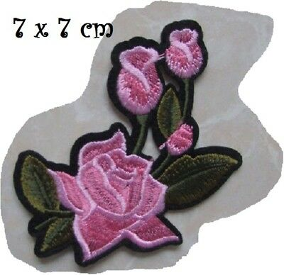 C6028 - FLEUR BOUTON de ROSE ** 7 x 7 cm ** APPLIQUE ÉCUSSON PATCH THERMOCOLLANT
