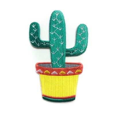ÉCUSSON APPLIQUE PATCH thermocollant ** 5 x 9,5 cm ** POT de FLEUR CACTUS