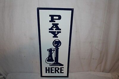 """Vintage 1950's Pay Here Restaurant Gas Oil 30"""" Metal Sign W/Telephone"""