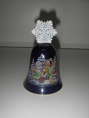 BELL Porcelain Avon Christmas 1987 Cobalt Snowflake Handle Children Carolling