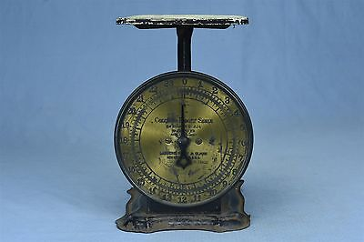 Antique 1907 BRASS FACE COLUMBIA FAMILY SCALE 24 LBS LANDERS FRARY CLARK #03364