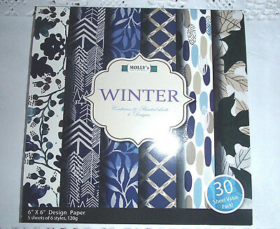 "Pack of 30 sheets of MOLLYS 6 inch x6 inch Scrapbook paper ""Winter"""