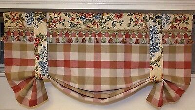 Custom Made To Order French Country Reversible Toile  And Checkerboard Valance