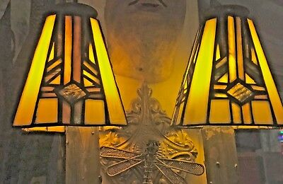 Leaded Antique Pair Of Stain Glass Shades