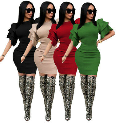 Womens short ruffled sleeves bodycon clubwear party evening cocktail mini dress