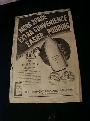 Large 1947 fairmont creamery newspaper ad square milk bottle paper clipping ad