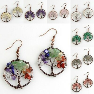 Amethyst Crystal Vintage Tree of Life Reiki Chakra Healing Copper Hook Earrings