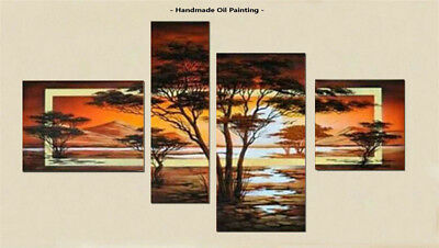Framed Large Wall Art Handmade Modern African scenery Tree Oil Painting Canvas