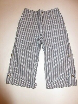 New Boys Janie And Jack Roll Up Cotton Striped Cuff Pants Size 3