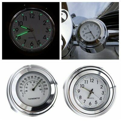 "7/8"" 1"" Motorcycle Handlebar Chrome Dial Clock+Temp Thermometer Custom 883 1200"