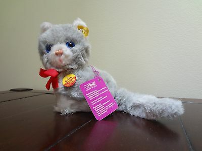 NWT 70s Steiff 3521 Snuffy Blue Eyed Grey White Cat Kitten Kitty Stuffed Animal