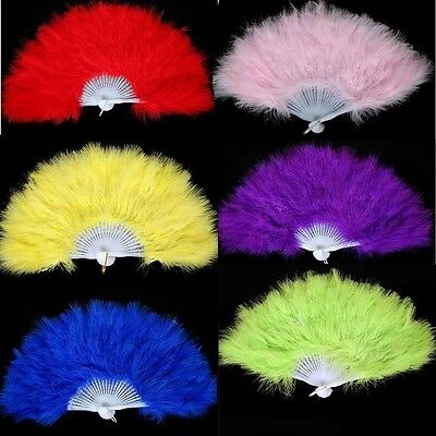 10 x NEW Handmade Folding Fluffy Feather Fans Party Wedding Costume Dance L size