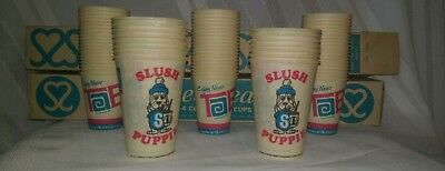 VTG Tab Cola (60) & Slush Puppy (15) Wax Paper Cup Lot w/ OG Cardboard Boxes