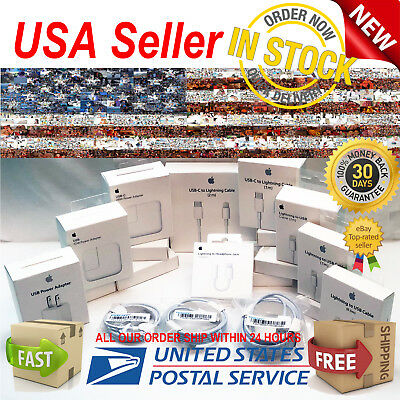Authentic For Apple iPhone 6s/7/8 + X USB Lightning Cable & Wall Adapter Charger