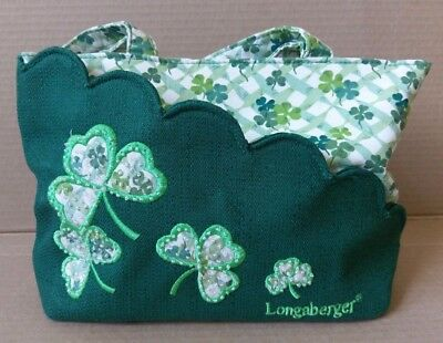 Longaberger Homestead Green White Clover St. Patrick's Day Purse Shoulder Bag
