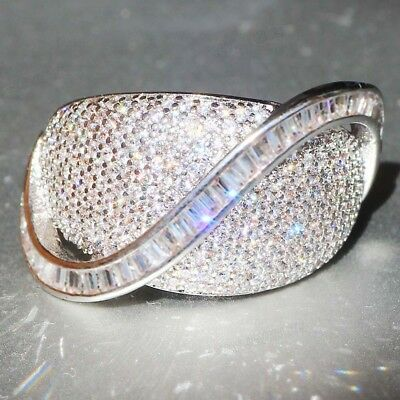 New Woman's 925 Silver Filled White Sapphire Birthstone Wedding Band Heart Ring