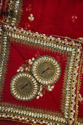 Vintage Heavy Dupatta Antique Women Bridal Long Scarf Embroidered Stole HD1021